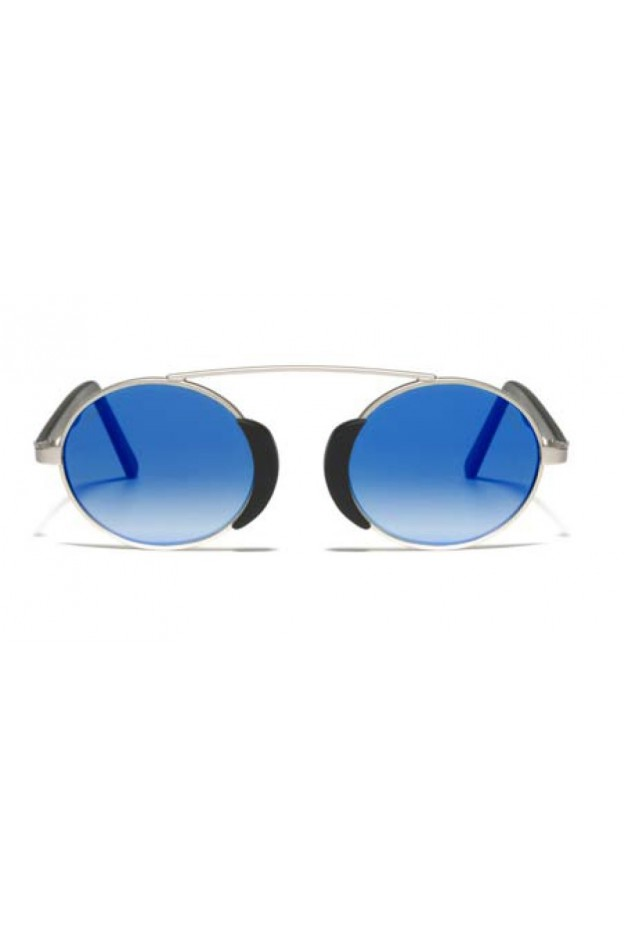 L.G.R. Occhiali Togo Silver Matt 00 / Flat Blue Mirror