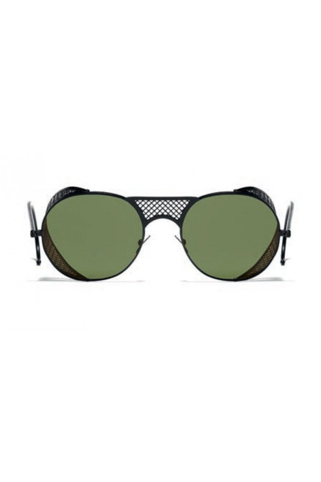 L.G.R. Lawrence Sunblasses Black Matt 22 / Flat Green G15