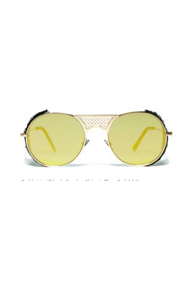 L.G.R. Lawrence Flap Sunglasses Gold 03 / Black Snake Skin / Flat Gold Mirror