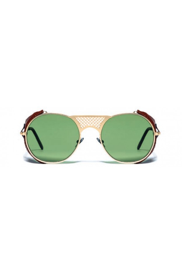 L.G.R. Lawrence Flap Sunglasses Gold Matt 02 / Flat Green Vintage New Collection 2018