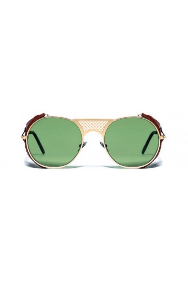 L.G.R. Occhiali Lawrence Flap Gold Matt 02 / Flat Green Vintage Nuova Collezione 2018