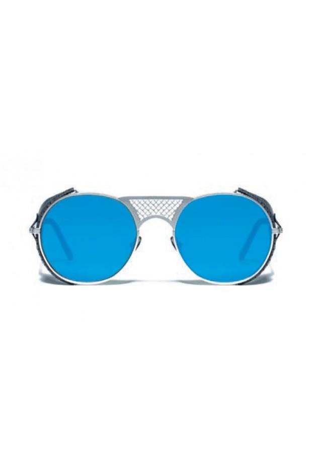 L.G.R. Lawrence Flap Sunglasses Silver Matt 00 / Flat Blue Mirror New Collection 2018