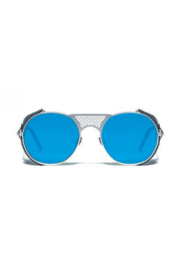 L.G.R. Occhiali Lawrence Flap Silver Matt 00 / Flat Blue Mirror