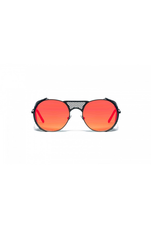 L.G.R. Lawrence Flap Sunglasses Black Matt 22 / Flat Red Mirror New Collection 2018