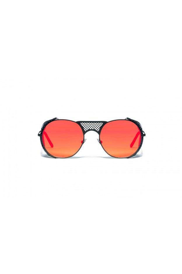 L.G.R. Lawrence Flap Sunglasses Black Matt 22 / Flat Red Mirror