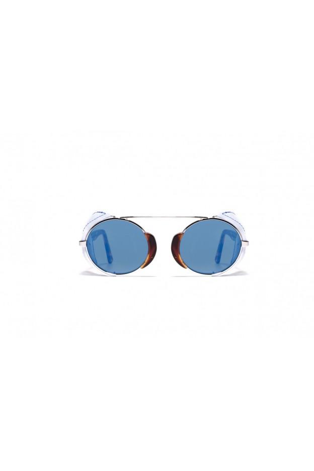 L.G.R TOGO FLAP Havana Fiammato 00 / White Flap // Flat Blue Mirror