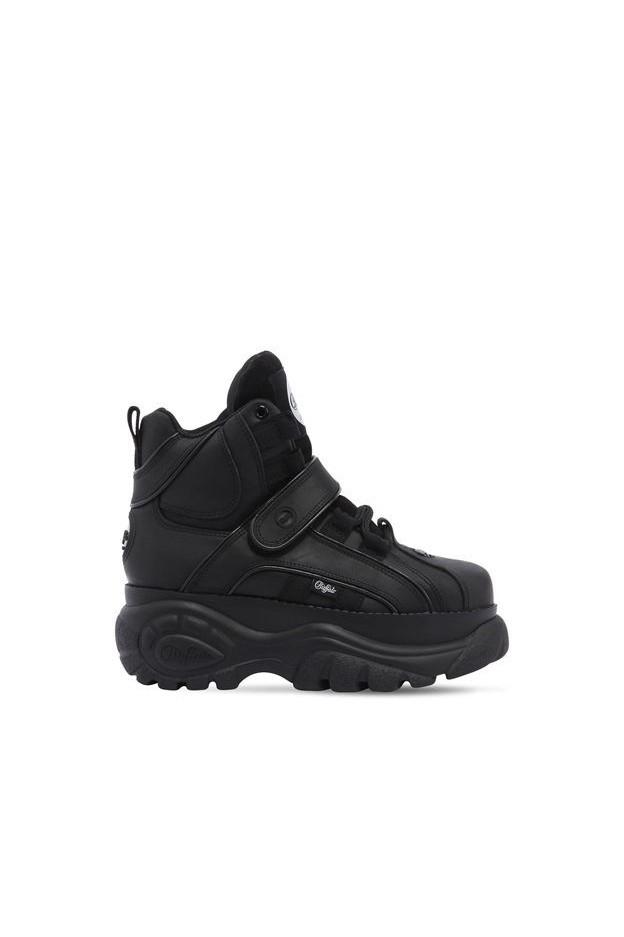 """Buffalo London Platform Boots """"Buffalo Classic"""" In Pelle 60Mm 67I WMW004 Nero - Nuova Collezione Autunno Inverno  2018"""