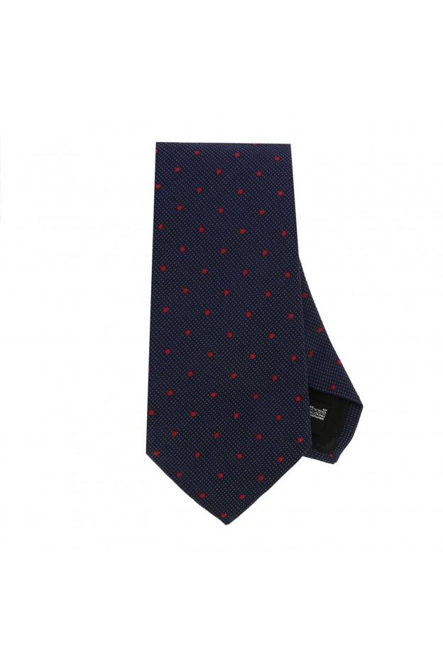 Emporio Armani Cravatta 7,5 Cm In Seta Con Fantasia A Pois 340075 8A320 12335 Blu Navy - Nuova Collezione