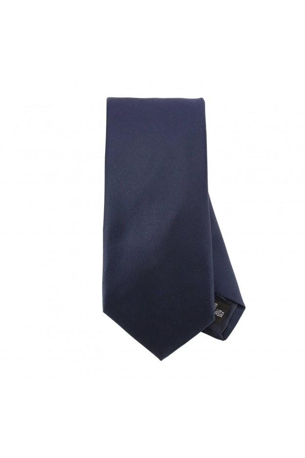 Emporio Armani Cravatta 7,5 Cm In Seta A Tinta Unita 340075 8P490 00036 Blu Navy - Nuova Collezione Autunno Inverno 2018 2