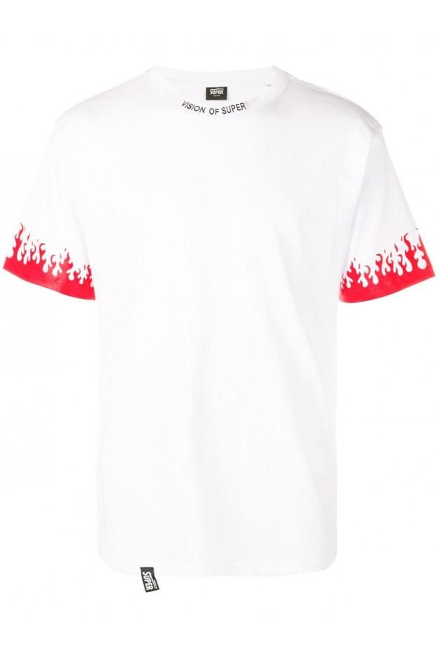 Vision of Super Flame Cuff Man T-shirt White VOSLTD2BR - New Season Fall Winter 2019 - 2020