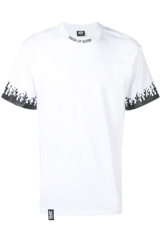 Vision of Super Flame Print Logo Man T-shirt White VOSLTD2BN - New Season Fall Winter 2019 - 2020