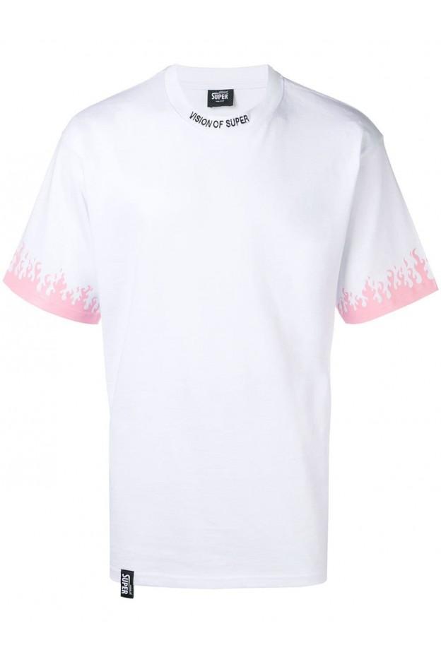 Vision of Super T-shirt con Maniche Stampate Bianca Uomo VOSLTD2BPS - Nuova Collezione Primavera Estate 2019