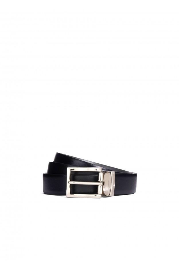 Emporio Armani Cintura classica in pelle Y4S223 YLQ6E1 88017 Blue/Black - Nuova Collezione Primavera Estate 2020 - 2021