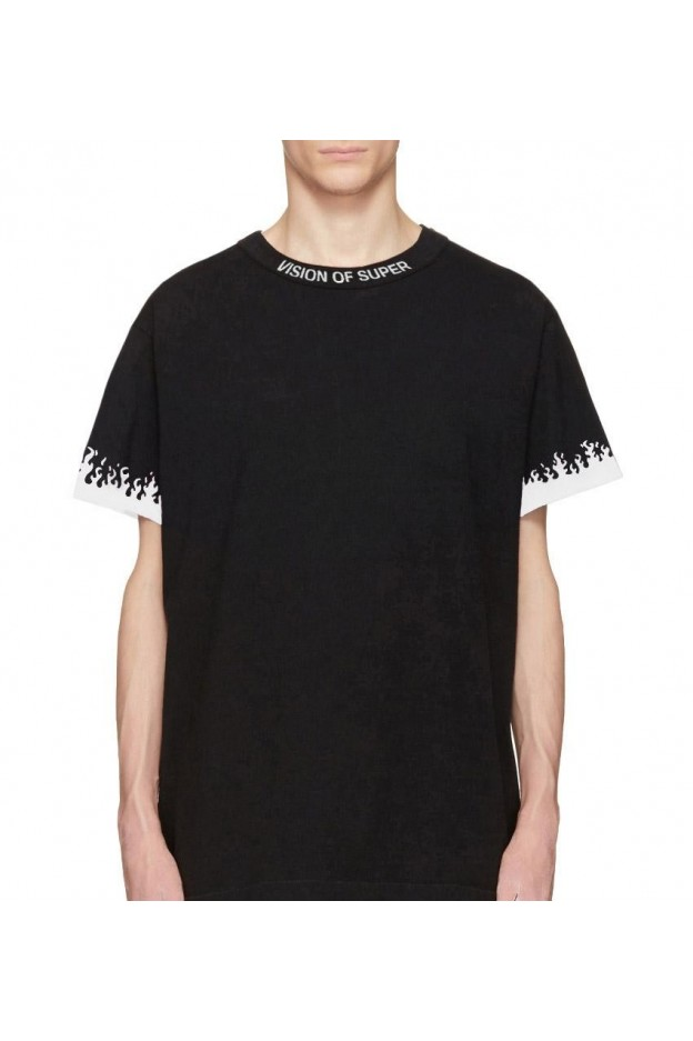 Vision of Super White Flames Black T-shirt - Nuova Collezione Primavera Estate 2019