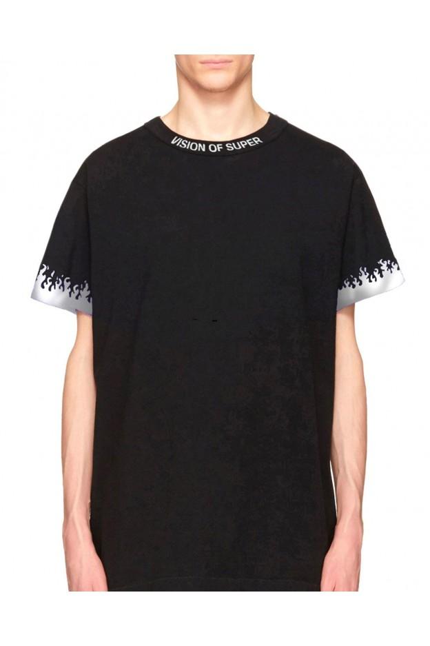 Vision of Super Reflective Flames Black T-shirt - Nuova Collezione Autunno Inverno 2019 - 2020
