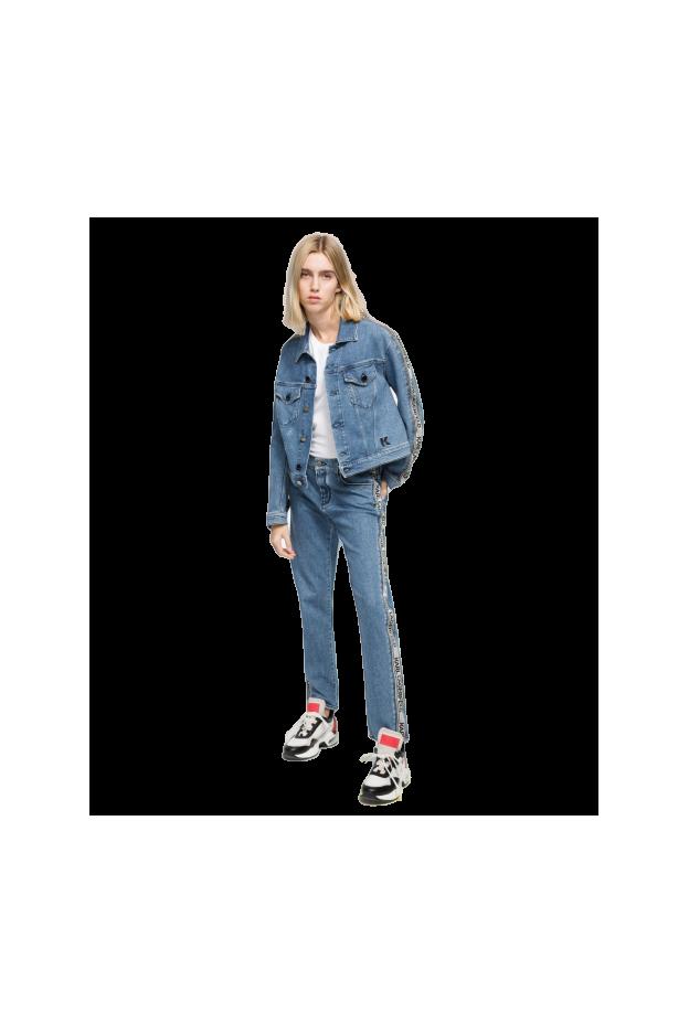 Karl Lagerfeld Jeans con nastro logato KLWP0004 002 BKL Denim - Nuova Collezione Primavera Estate 2019