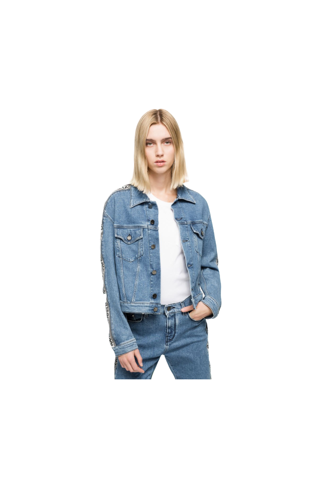 Karl Lagerfeld Giacca in denim con nastro logato KLWJ0005 002 BKL Denim - Nuova Collezione Primavera Estate 2019