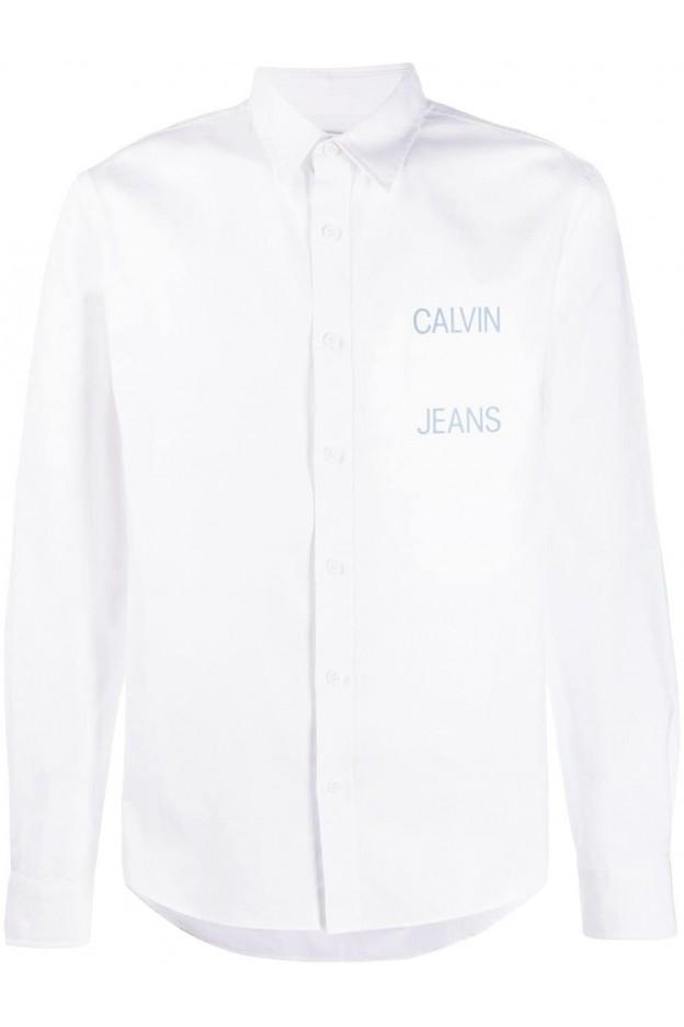 Calvin Klein Jeans Camicia con logo J30J311093 112 Bright White - Nuova collezione Primavera Estate 2019