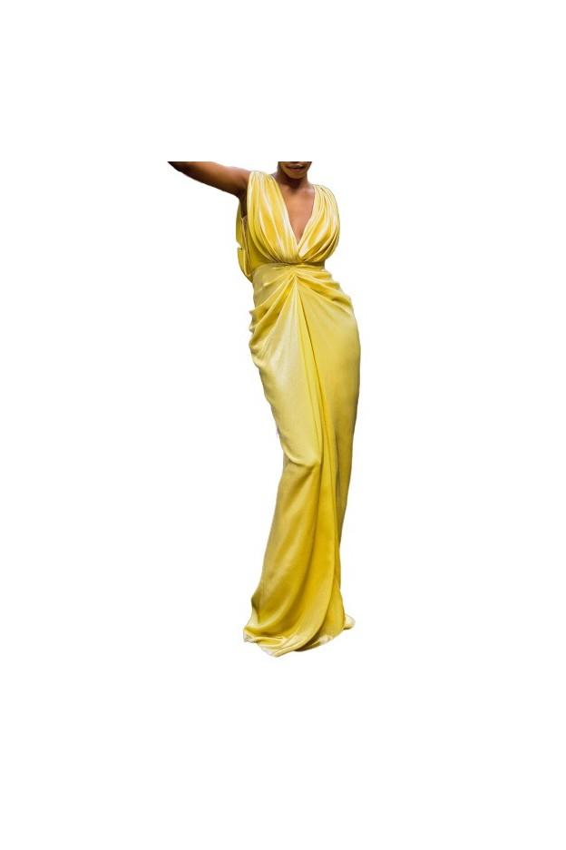 Rhea Costa Abito Lungo Glowing Goddess 19064D LG Giallo - Nuova Collezione Primavera Estate 2019
