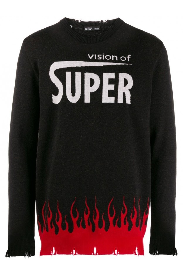 Vision of Super flame sweater VOSB8FDOWN Black - New Collection Autumn Winter 2019 - 2020