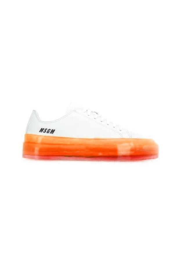 MSGM Sneakers con suola a contrasto 2740ms726 161 10 White Orange - Nuova collezione Autunno Inverno 2019 2020