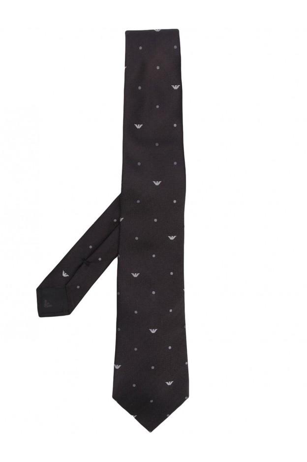 Emporio Armani Logo Print Tie 340075 0P335 00020 BLACK - New Season Spring Summer 2020