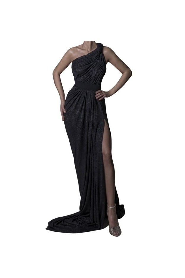 Rhea Costa Abito Side Metallic Zipper Gown 20113DLG - New Season Spring Summer 2020