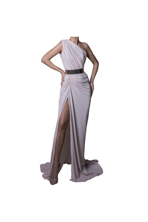 Rhea Costa Daring Slit Jersey Gown