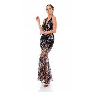 Feleppa Gea, lace mermaid dress BLACK