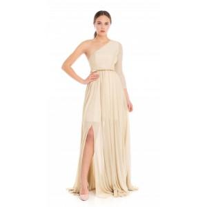 Feleppa Galatea, long one-shoulder dress in jersey GOLD