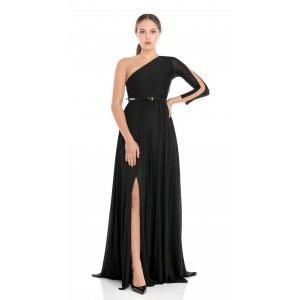 Feleppa Galatea, long one-shoulder dress in jersey BLACK