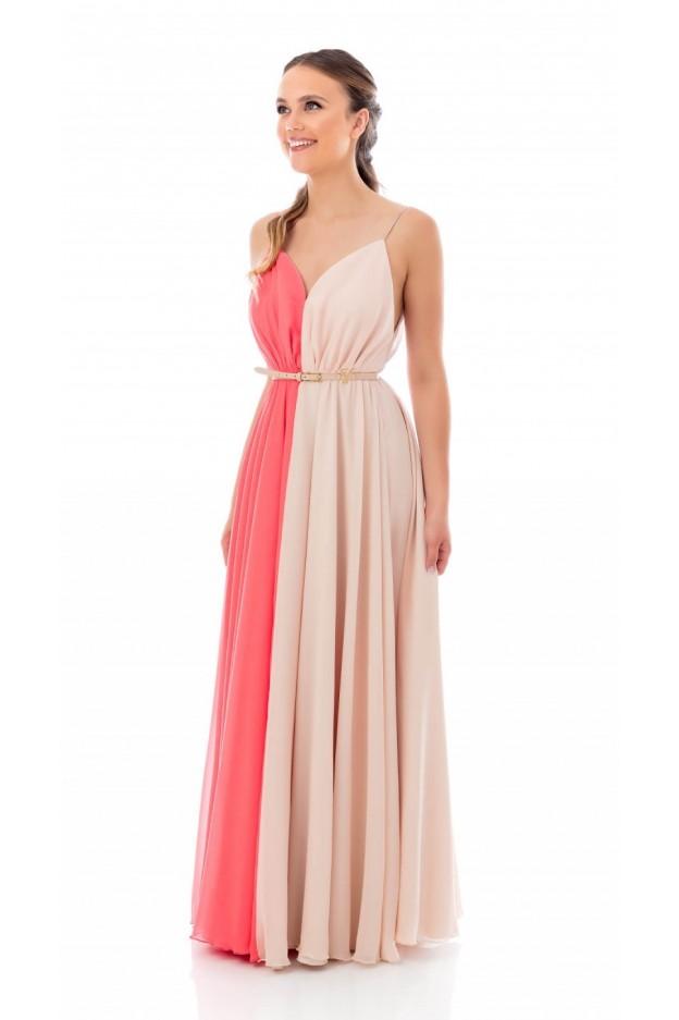 Feleppa Gioia, two-tone dress CORAL-POWDER - Spring Summer 2020