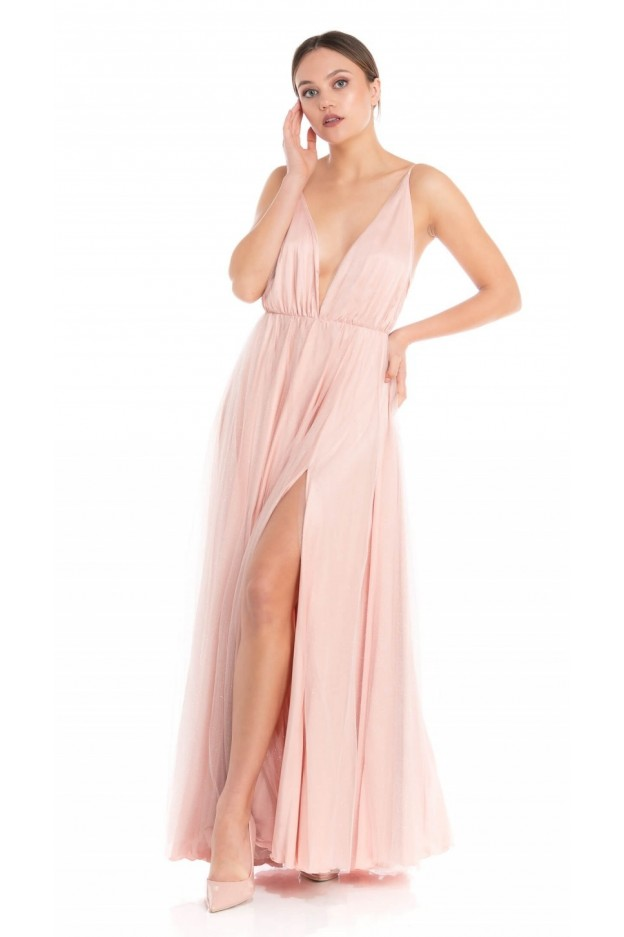"Feleppa Olimpia, long dress in tulle. ""V""-neck FACE POWDER - Spring Summer 2020"