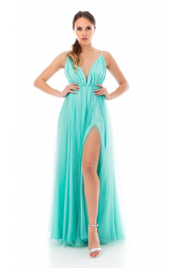 "Feleppa Olimpia, long dress in tulle. ""V""-neck TIFFANY - Spring Summer 2020"