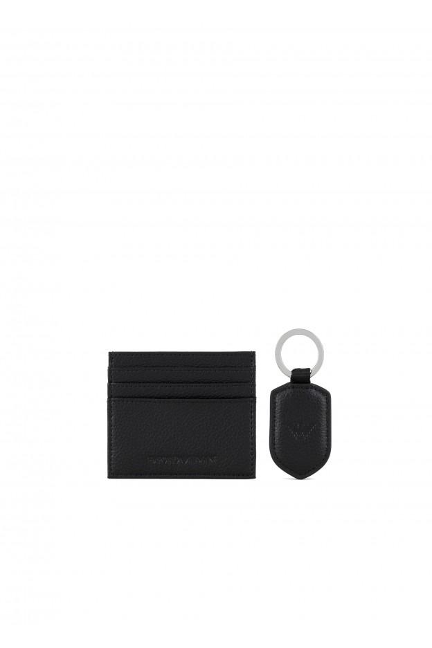 Emporio Armani Gift box con portacarte e portachiavi in pelle bottalata Y4R264YEW1E1 81072 NERO - Autunno Inverno 2020 2021