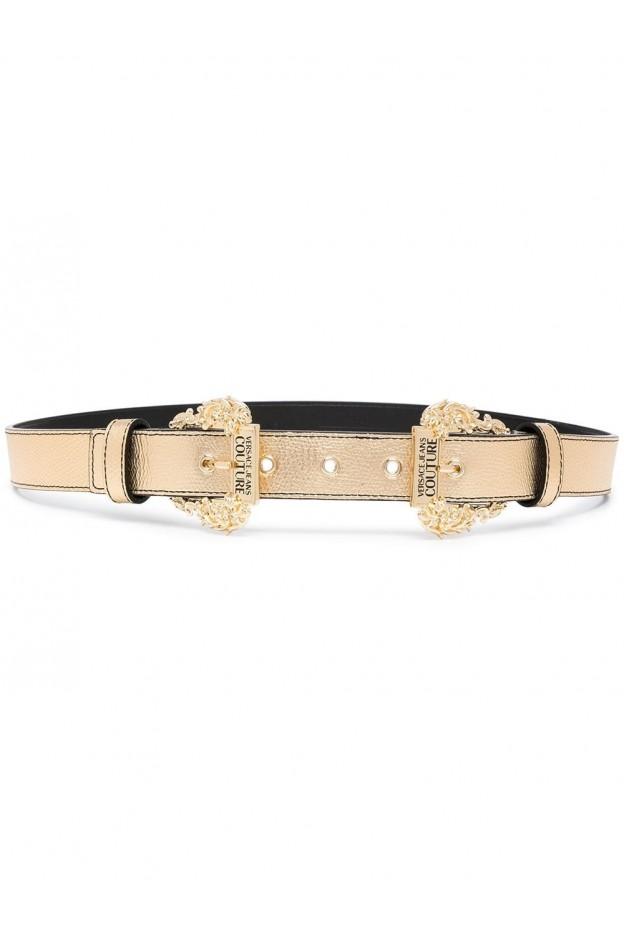 Versace Jeans Couture Baroque-Buckle Metallic Belt