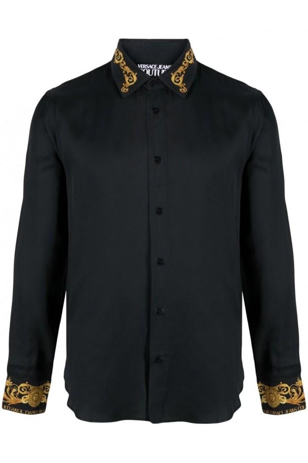Versace Jeans Couture Baroque-Trim Shirt B1GWA6S3 07619 899 NERO - New Season Spring Summer 2021