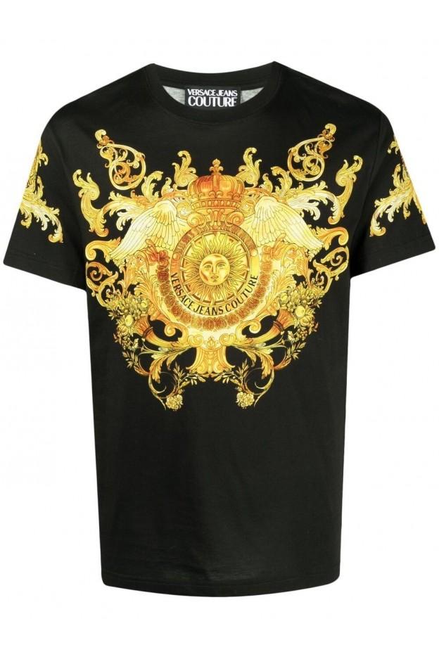 Versace Jeans Couture Signature Barocco Print T-Shirt B3GWA7S1 S0274 899 NERO - New Season Spring Summer 2021
