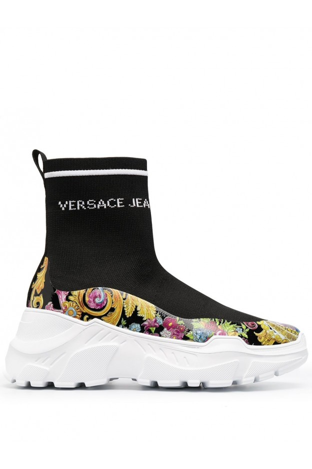 Versace Jeans Couture Sock-Style Hi-Top Sneakers E0VWASC5 71933 M09 BLACK - New Season Spring Summer 2021