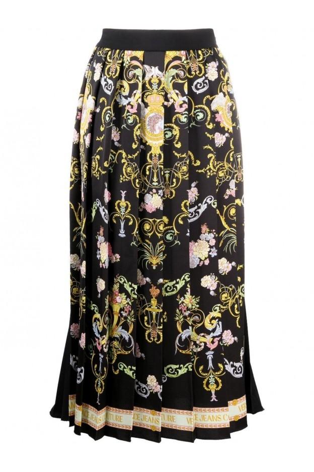Versace Jeans Couture Gonna Midi Con Motivo Barocco A9HWA321 S0228 899 NERO - Nuova Collezione Primavera Estate 2021