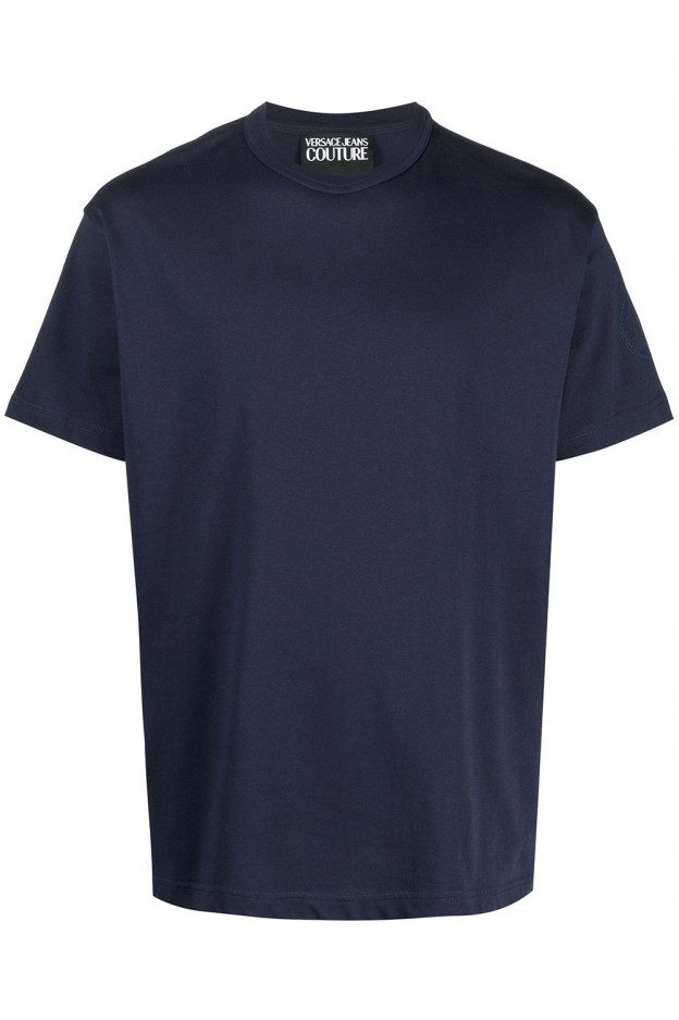 Versace Jeans Couture Logo-Sleeve Cotton T-Shirt B3GWA7TI 30319 200 BLUE - New Season Spring Summer 2021