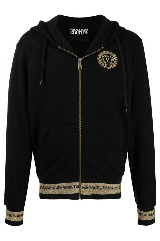 Versace Jeans Couture Zip-Front Cotton Sweatshirt B7GWA7TQ 30318 K42 BLACK - New Season Spring Summer 2021