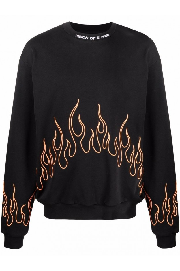 Vision Of Super Embroidered Flames Sweatshirt VOSB12ORANGEFLAME BLACK - New Season Spring Summer 2021
