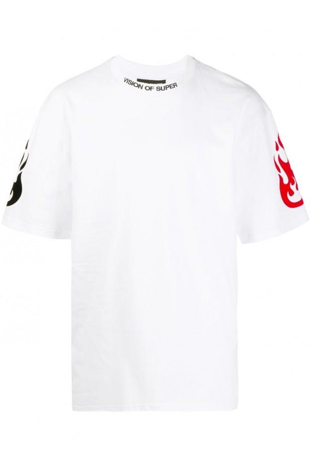 Vision Of Super T-Shirt Reflective VOSW1FIREDOUBLE WHITE - Nuova Collezione Primavera Estate 2021