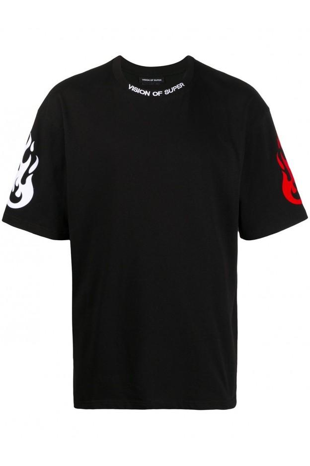 Vision Of Super T-Shirt Reflective VOSB1FIREDOUBLE BLACK - Nuova Collezione Primavera Estate 2021