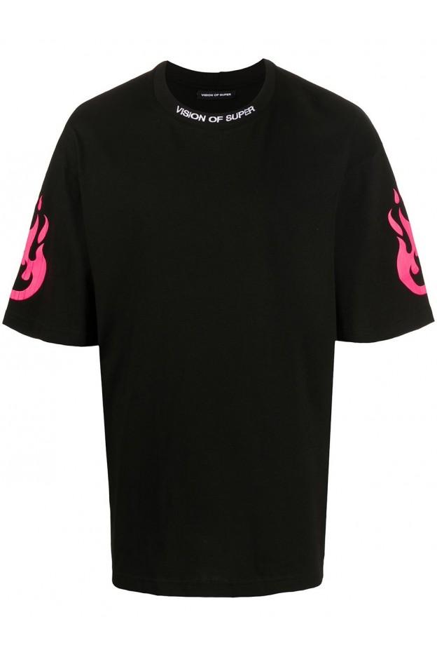 Vision Of Super T-Shirt Con Stampa VOSB1FIREPINKFLUO BLACK - Nuova Collezione Primavera Estate 2021