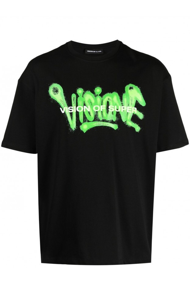 Vision Of Super Graffiti-Print Cotton T-Shirt VOSB1SPRAYGR BLACK - New Season Spring Summer 2021