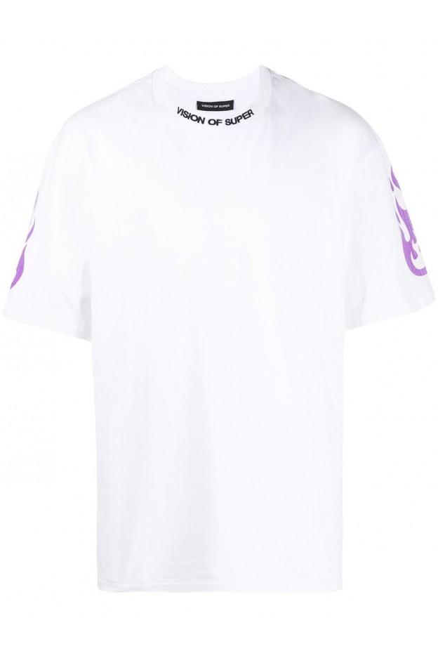 Vision Of Super T-Shirt Reflective VOSW1FIREPURPLE WHITE - Nuova Collezione Primavera Estate 2021