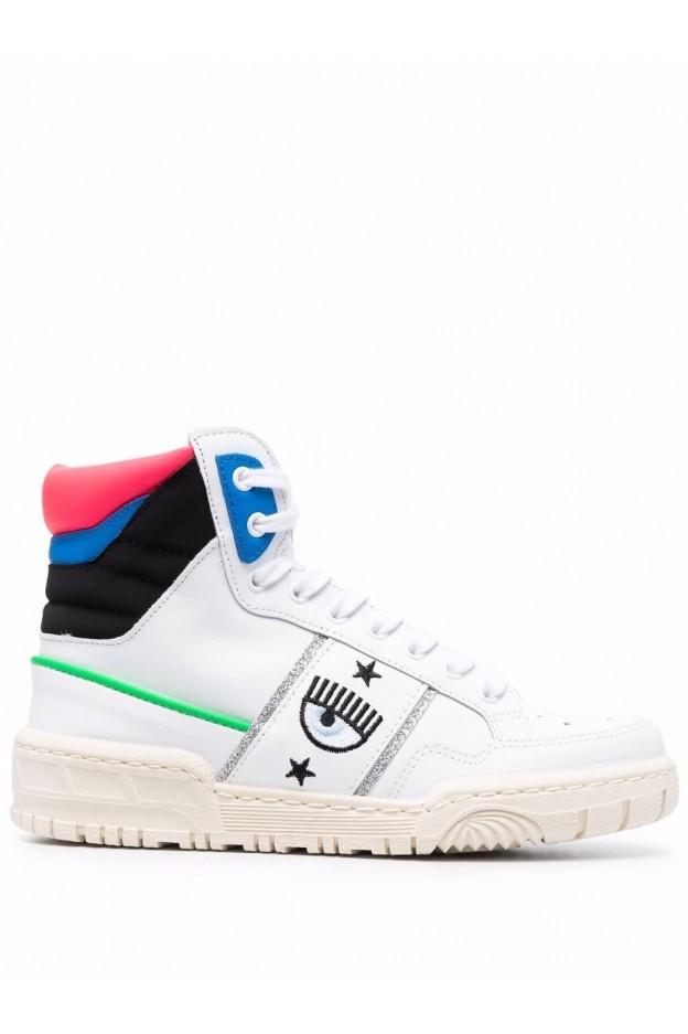 Chiara Ferragni Sneakers Alte Cf-1 CF2833 032 BIANCO E BLU - Nuova Collezione Autunno Inverno 2021 - 2022