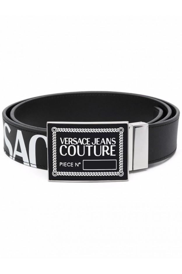Versace Jeans Couture Logo Plaque Leather Belt 71YA6F21 ZP061 899 BLACK - New Season Fall Winter 2021 - 2022